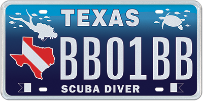 Texas Diver Plate - Specialty plate in Texas